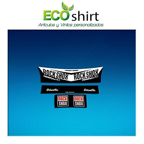 Ecoshirt 46-BRIL-QGVZ Aufkleber Shock Rock Shox Monarch Plus Rc3 Am203 Aufkleber Stoßdämpfer MTB Downhill, Weiß