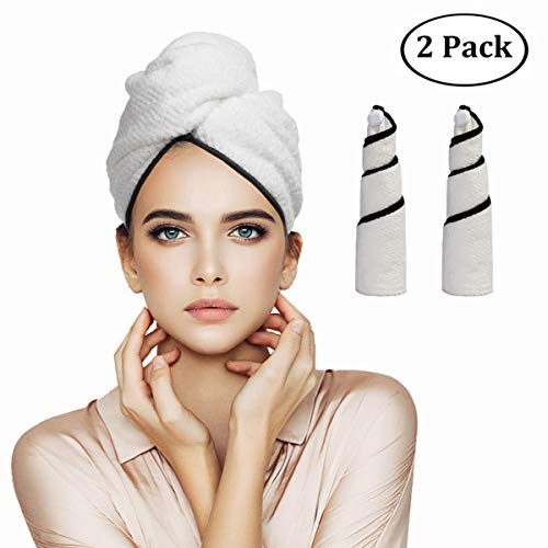 Orthland Microfiber Hair Towel Wraps for Women [2 Pack] Quick Dry Anti-frizz Head Turban for Long Thick & Curly Hair, Super Absorbent Soft