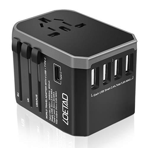 LOETAD Reiseadapter Travel Adapter Universal Reisestecker mit 4 USB Ports 1 Typ-C und 1 AC Buchse weltweit Internationale Reise Stecker für 150 Ländern (Verpackung MEHRWEG)