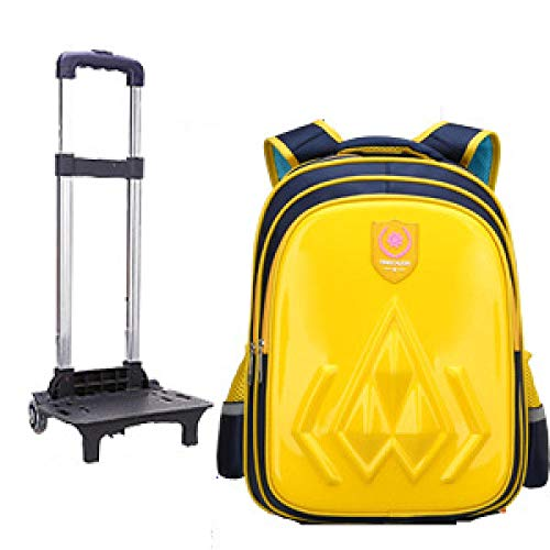 ZZLHHD School Backpack Trolley,Children's removal bag, wear-resistant tie backpack-yellow_Two rounds,Kids Backpack Trolley Bag