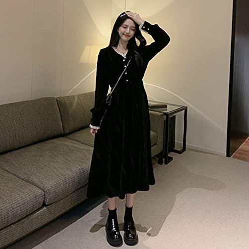 chushi Vestidos de Mujer Elegante Vestido Mujer Manga Larga Sólido Negro Vestido...