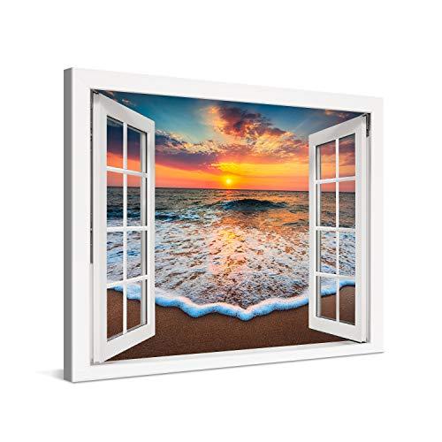 PICANOVA – Quadro su Tela Sea Sunset Window 80x60cm – Stampa Incorniciata con Spessore di 2cm Altre Dimensioni Disponibili Decorazione Moderna – Collezione Spiagge