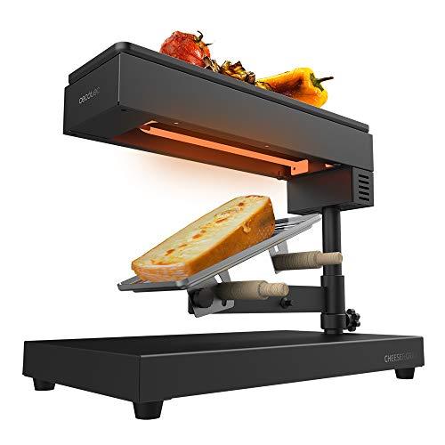 Cecotec Raclette Cheese&Grill 6000 Black. Potencia 600W, Función Grill, Acabado Acero INOX, Termostato Regulable, 2 espátulas de Madera, Parrilla Superior Antiadherente