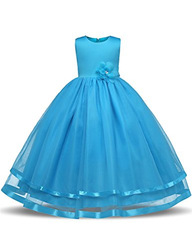 WEONEDREAM Flower Girl Dresses for Weddings Dresses Elegant First Communion Pageant Party Kids Sleeveless Long Dress Tea Length (Blue, 130)