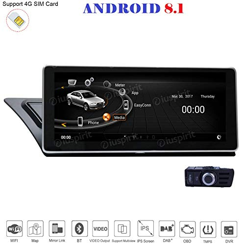 ANDROID 8.1 GPS USB DAB+ MirrorLink Bluetooth 10.25 pollici 2GB RAM 32GB ROM navigatore compatibile con Audi A4/A5/S5/RS4/RS5/8K/B8/8T/4L 2009-2016