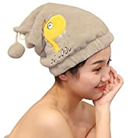 WFF 帽子 ハット 髪の速い乾燥帽子タオルのマイクロファイバーのサンゴのフリース超吸収性のキャップバスツールの帽子 (Color : Light brown)