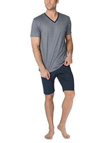 CALIDA Herren Comfy Zone Pyjama kurz Zweiteiliger Schlafanzug, Schwarz (Onyx 808), Large