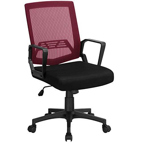 Yaheetech Bürostuhl Schreibtischstuhl ergonomischer Drehstuhl Mesh Netz Sportsitz Chefsessel Wippfunktion mit Armlehnen Weinrot