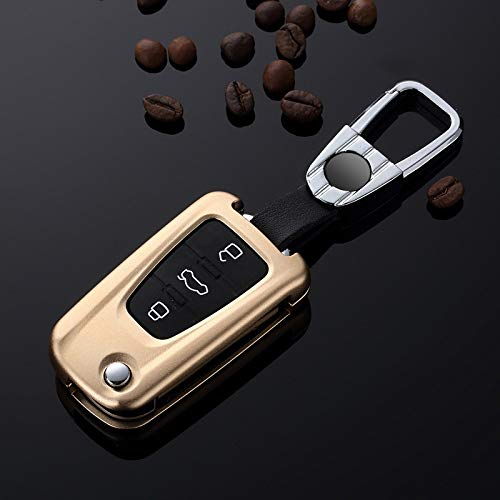 Car Key Case Cover Suitable For Roewe MG MG3 MG5 MG6 MG7 GT GS FOR Roewe 350 360 750 W5 3 button Keychain Accessories Holder Shell Ring (Color Name : A gold)