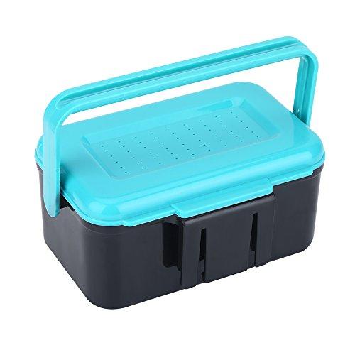 VGEBY1 Caja del Tenedor del Cebo de Pesca, Caja del Tenedor del Cebo de la Pesca del plástico Azul Brillante portátil con el Clip para el Gusano de lombriz Lure Storage