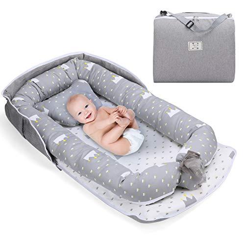Fascol Riduttore Lettino per Neonato, Nido per Neonati con Cuscino, Riduttore Culla per Neonato 0-12 Mesi, 100% Cotone, Antisoffoco, Portatile Baby Nest (grigio)
