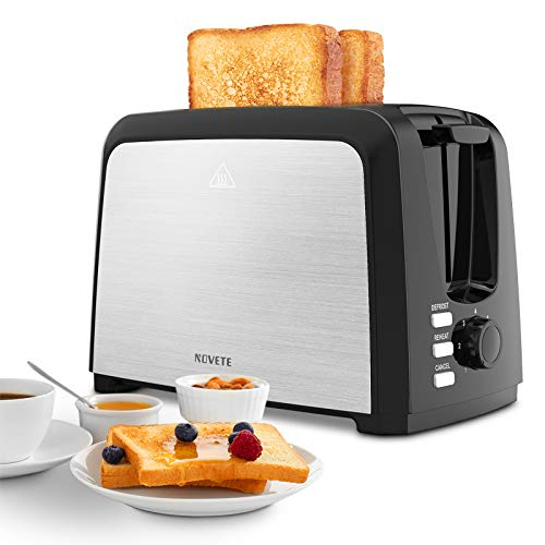 Toaster 2 Slice Prime Rated, NOVETE Wide Slot Toaster with 7 Bread Shade Settings & Removable Crumb Tray, UL Certified Quality, Compact Stainless Steel Toaster, Ideal Gift for Family & Friends, 750W