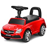 Costzon Kids Push and Ride Racer, Licensed Mercedes Benz Ride On Push Car w/Horn Music, Under Seat Storage, Foot-to-Floor Sliding Car Pushing Cart for Toddler, Gift Toy for Children Boys Girls (Red)