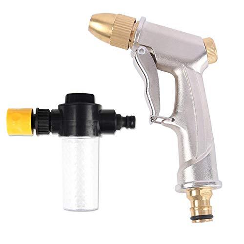 Yueser Pistola de Pulverización de Manguera de Jardín Agua de Alta Presión Resistente Ajustable de Chorro a Spray con Botella de Espuma para Limpieza de Automóvil Riego del Césped