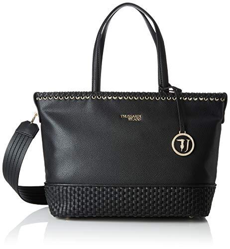 Trussardi Jeans Mimosa Tote N/s Ooth, Borsa Donna, Nero (Black), 34.5x27.5x14 cm (W x H x L)