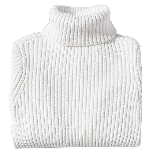 Shengwan Rollkragenpullover Kinder Mädchen Jungen Warm Herbst Winter Langarm Strickpullover Weiß 160