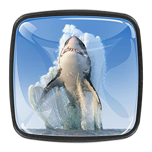 (4 piezas) pomos de cajón para cajones, tiradores de cristal para gabinete con tornillos para gabinete, hogar, oficina, armario, salto tiburón, 35 mm
