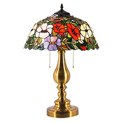AWER 12 inch Tiffany stijl tafellamp retro elegante linden bloem tafellamp Europese smeedijzer huis nacht slaapkamer decoratie tafellamp E27 * 1