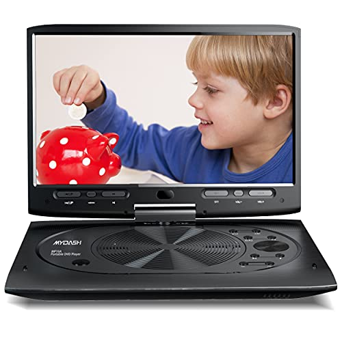 MYDASH Portable DVD Player 12.5  for Car, Kids DVD Player with 10.1  HD Swivel Display Screen, SD Card Slot and USB Port, Car Headrest Mount Provided, Exclusive Button Design, Black