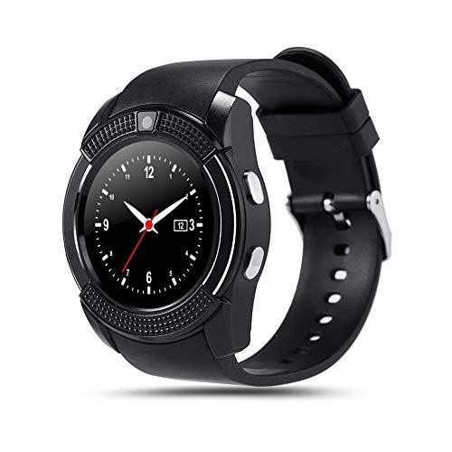 paletur88 Uetooth Smart V8 Smart Uhr SIM GSM Karte Calling Uhr MTK6261 Telefon Anruf Benachrichtigung Kamera Smartwatch für Android (Blau) - Schwarz