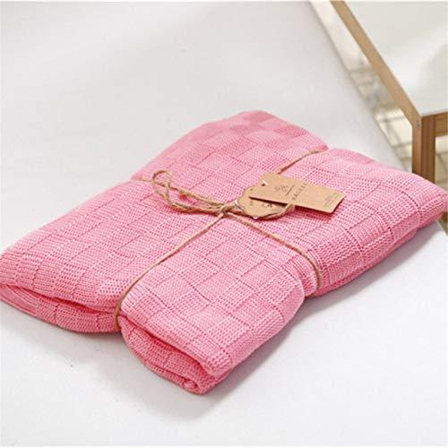 AMRT Sofadecke für Neugeborene und Babys, Bambusfaser, gestrickt, doppelseitig, klein, 120 x 110 cm, geeignet für Sofa, Loungesessel, Erkerfenster, Kissen (Farbe: Rosa, Größe: 120 x 110 cm)