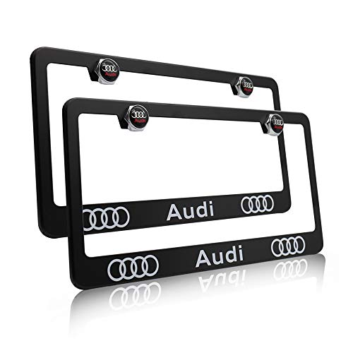 Fast & Furious 2PCS Car License Plate Frames for Audi, Luxury Matte Black Aluminum Alloy License Plate Frame Covers with Logo Screws Caps Set for Audi Vehicle