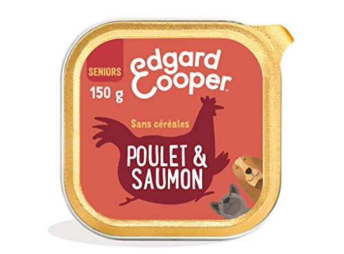 Edgard & Cooper Croquettes Chien Senior Sans Cereales Nourriture Naturelle 7kg Poulet et Saumon Frais, Alimentation saine savoureuse et équilibrée, Protéines de qualité supérieure (150 g)