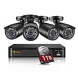 Anlapus 1080P Sistema de Seguridad 8 Canales H.265+ Grabador DVR con 4 CCTV Cámaras de Vigilancia Exterior, 1TB Disco Duro, IR Visión Nocturna