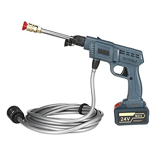 Pistola Ad Acqua Per Lavaggio A Mano Con Rondella Ad Alta Pressione 24V Con 6 Ugelli Rotanti Lavatrice Per Auto Senza Fili Strumento A Getto Per La Pulizia Del Giardino Con Batteria