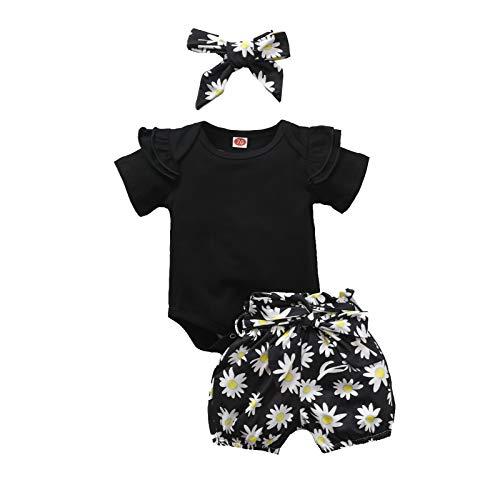 Carolilly Conjunto de ropa para niñas, ropa de bebé, conjuntos de verano para niñas. Negro D 12-18 Meses