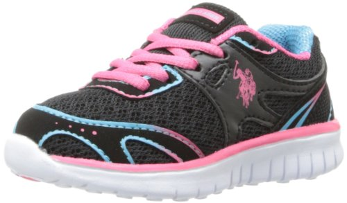 U.S. Polo Assn. Glow Running Shoe (Toddler),Black/Fuchsia/Turquoise/White,9.5 M US Toddler