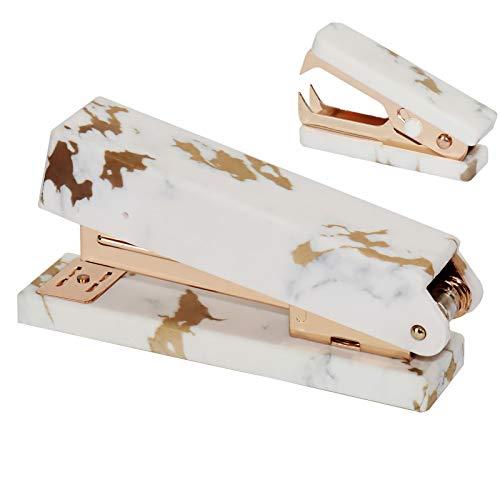 Mutibey Desktop Stapler Staples Remover Set 950Pcs 24/6 26/6 Rose Gold Staples Paper Binding Stapling Office Supplies Desk Accessories (Mable Gold Texture 2)