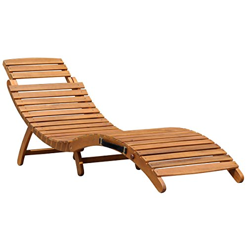 Charles Bentley Large Folding Curved Reclining FSC Wooden Sun Lounger Patio Sunbed