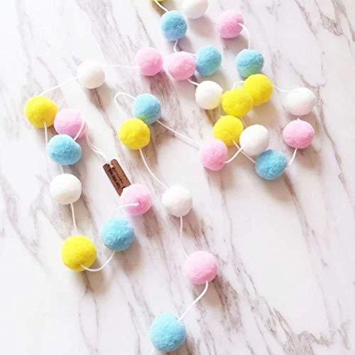 SZETOSY Pom Poms Garlands - GOODCHANCEUK 2 x Felt Ball String 2M Hanging Ornaments Handmade Pom Pom Decoration For Kids Bedroom Party Birthday Pink+Blue+Yellow+White