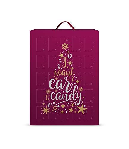 SIX Schmuck-Adventskalender für Frauen mit I Want Ear Candy Schriftzug und 24 raffinierten Überraschungen, zum Aufhängen oder Hinstellen (388-353)