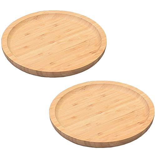 Teller aus Holz, 2 Stücke Hölzernes Serviertablett, Brot Holztablett, Kleiner Runder Hölzerner Teller für Untersetzer, Tee, Obst, Snacks, Kuchen, Weingläser (Eiche)