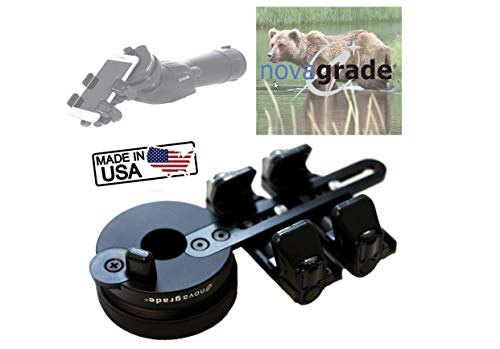 Novagrade Double Gripper Universal Digiscoping Adapter Connects All Smartphones to Binoculars, Spotting Scopes, Telescopes, and Microscopes