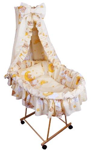 Amilian® 9tlg Textile Ausstattung für STUBENWAGEN Bollerwagen Himmel Matratze Baby Bettwäsche Teddy auf der Leiter Ecru