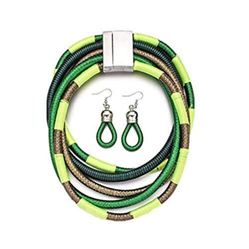 Juego de collar y pendientes para mujer, multicapa, trenzado, collar y pendientes de lágrima, set de regalo – Estilo A verde