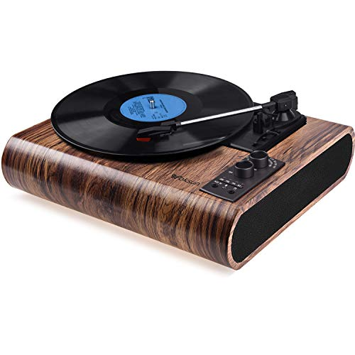 Record Player, VOKSUN Vintage Turntable 3-Speed Bluetooth Vinyl Player LP Record Player with Built-in Stereo Speaker, AM/FM Function,and Aux-in & RCA Output, Natural Wood