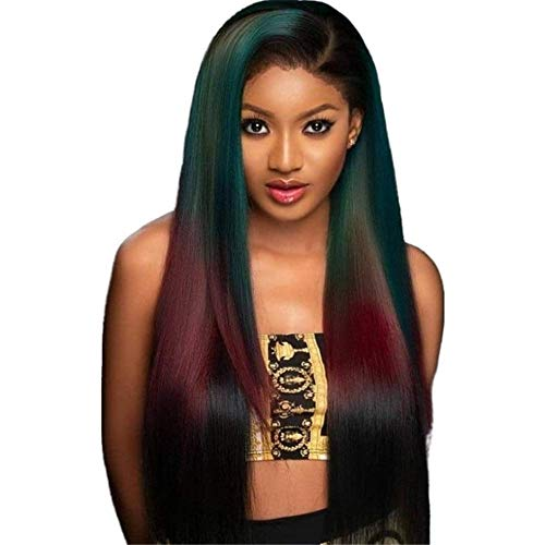JU+ Black Long Straight Synthetic Hair Heat Resistant Gradient Ramp Long Women Wigs Omber Green Red wig