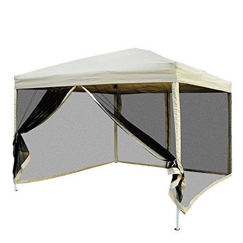 Outsunny Tonnelle Barnum Pliant Pop-up imperméabilisé Style Colonial 3L x 3l x 2,55H m 4 moustiquaires + Sac de Transport Beige Noir