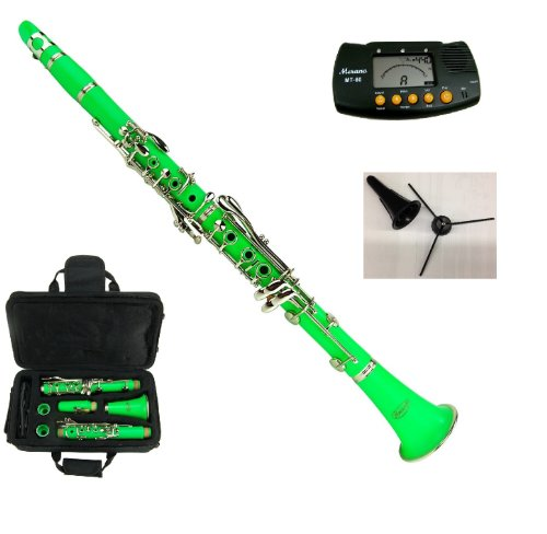 New Merano B Flat GREEN / Silver Clarinet with Case+Metro Tuner+Clarinet Stand+11 Reeds