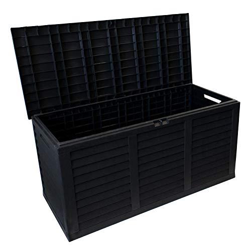 Coffre de rangement en plastique pour le jardin avec rouleau coffre de jardin 380 L 120x60x52cm anthracite pour les coussins mobilier de jardin salon de jardin