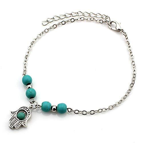 Tobilleras bohemias para mujer, de verano, para playa, con diseño de tortugas de árbol, para mujer, pulsera de tobillo de mano de Fátima, joyería de moda (color metálico: chapado en plata)