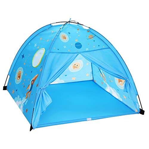 SONGMICS Kids Play Tent for Toddlers, Portable Pop Up Play Teepee with Carry Bag, for Boys and Girls, Indoor and Outdoor Fun, Gift for Kids, Stellar Theme, Blue LPT501B01