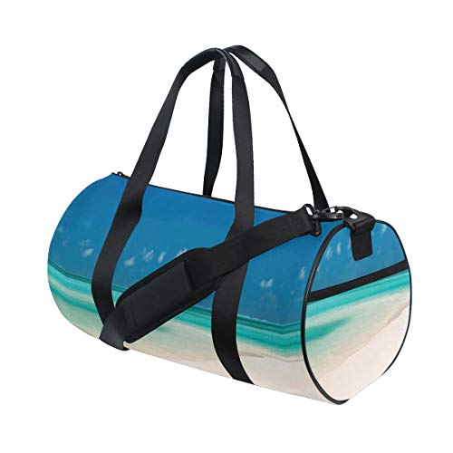 HARXISE Klappstuhl auf Sandy Tropical Beach Relaxing Holidays Seascape Picture,Reisegepäcktasche Sport Leichte Segeltuch Fitness Gepäcktrommel Handtasche Abnehmbar