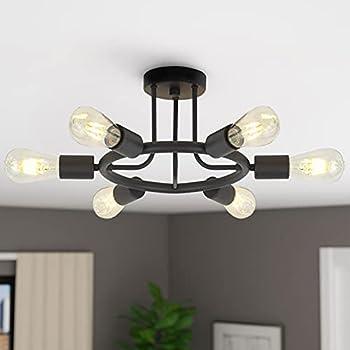 Semi Flush Mount Ceiling Light Modern Sputnik Chandelier for Living Room Dining Room Bedroom Entrance 6 Lights Industrial Kitchen Island Ceiling Lamp Fixture with Black Finish