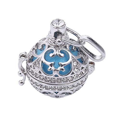 Retro Lady Fashion Elegant Floral Carved CZ Chime Bell Harmony Ball Locket Angel Caller Necklace for Party Holiday Jewelry Gift - White