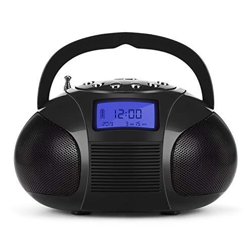August SE20 tragbarer Radiowecker mit FM, Bluetooth Lautsprecher- Mini MP3 Stereo-System mit Kartenleser USB und Audioanchluss 12 Senderspeichern, 2 x 3 W Stereo-Lautsprecher wiederaufladbarer Akku